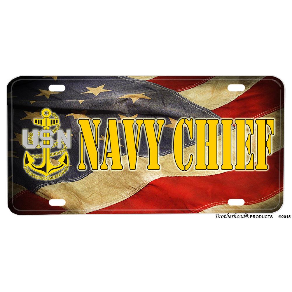 United States Navy Chief Flowing American Flag Aluminum License Plate