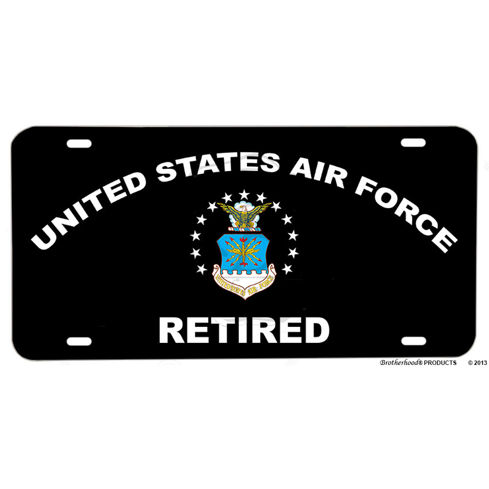 United States Air Force Retired Aluminum License Plate