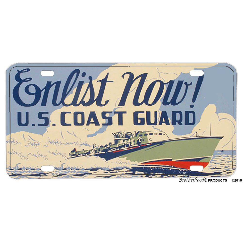 Enlist Now United States Coast Guard Poster Design Aluminum License Plate