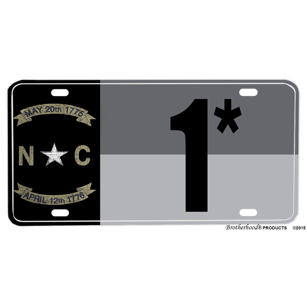Subdued Gray Silver North Carolina State Flag One Ass To Risk 1* Design Aluminum License Plate