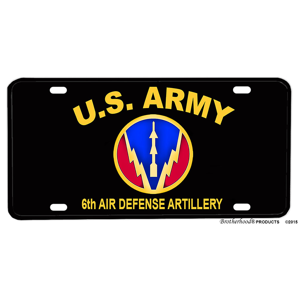 United States Army Sixth Air Defense Artillery Aluminum License Plate