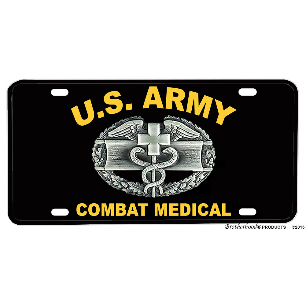 United States Army Combat Medical Badge Design Aluminum License Plate
