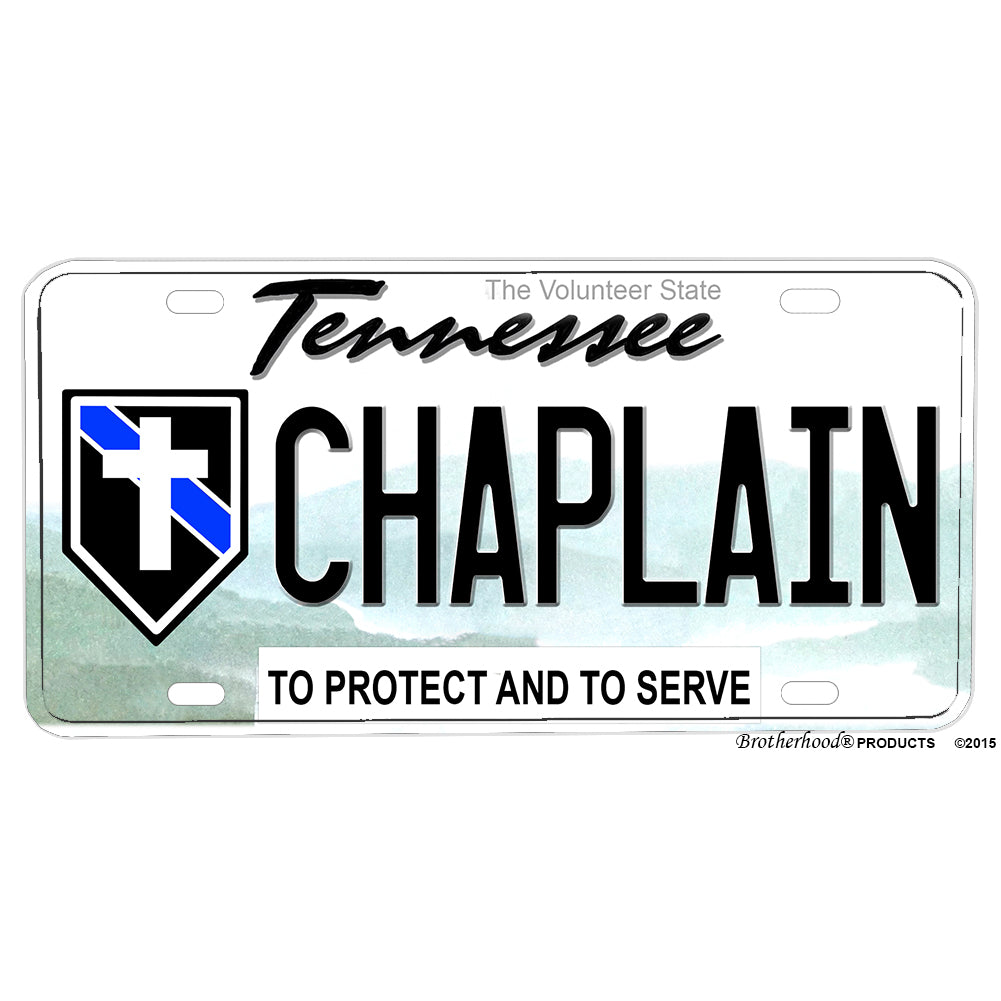 Thin Blue Line Police Chaplain Tennessee The Volunteer State Aluminum License Plate