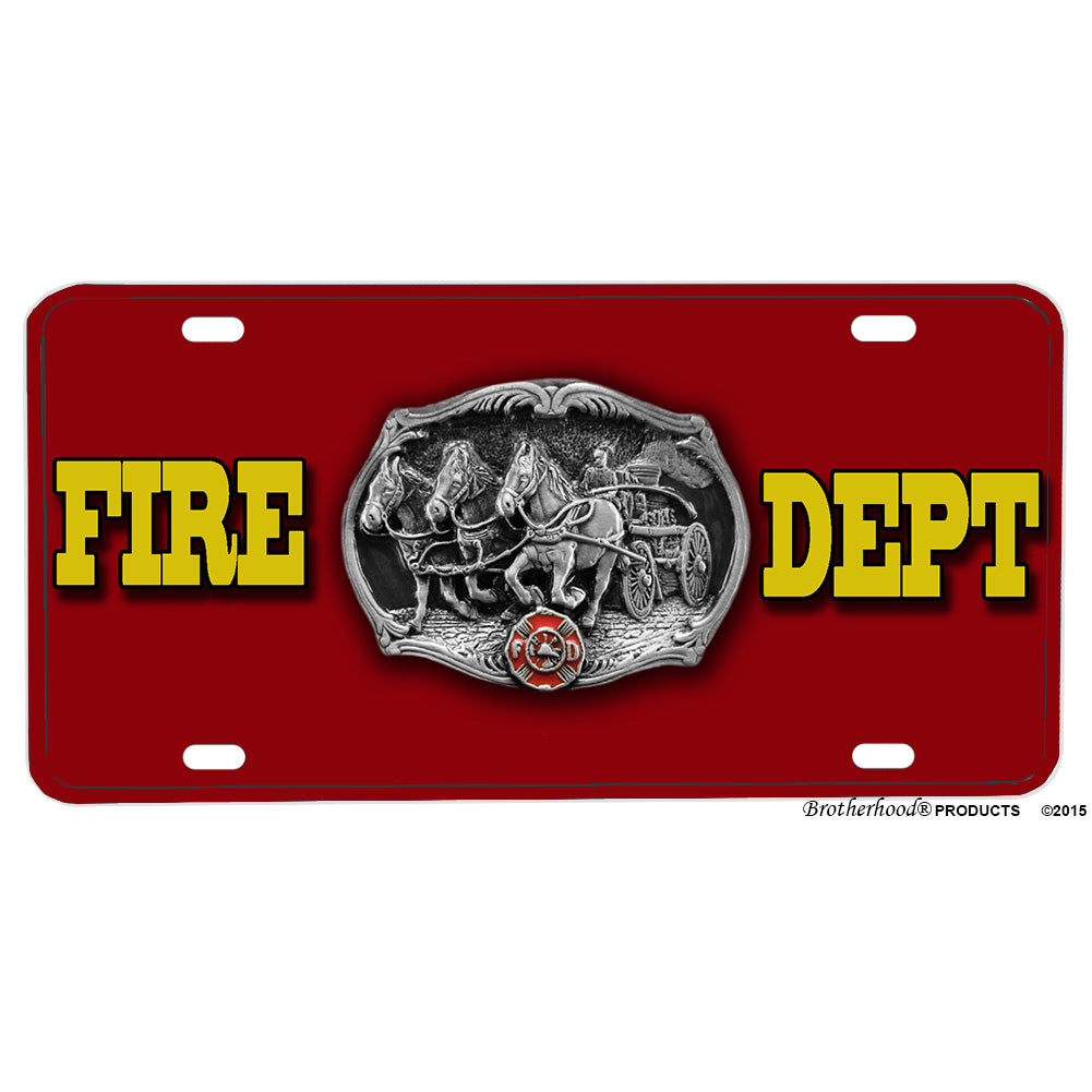 Firefighter Fire Department Pewter Horse Pumper Design Aluminum License Plate