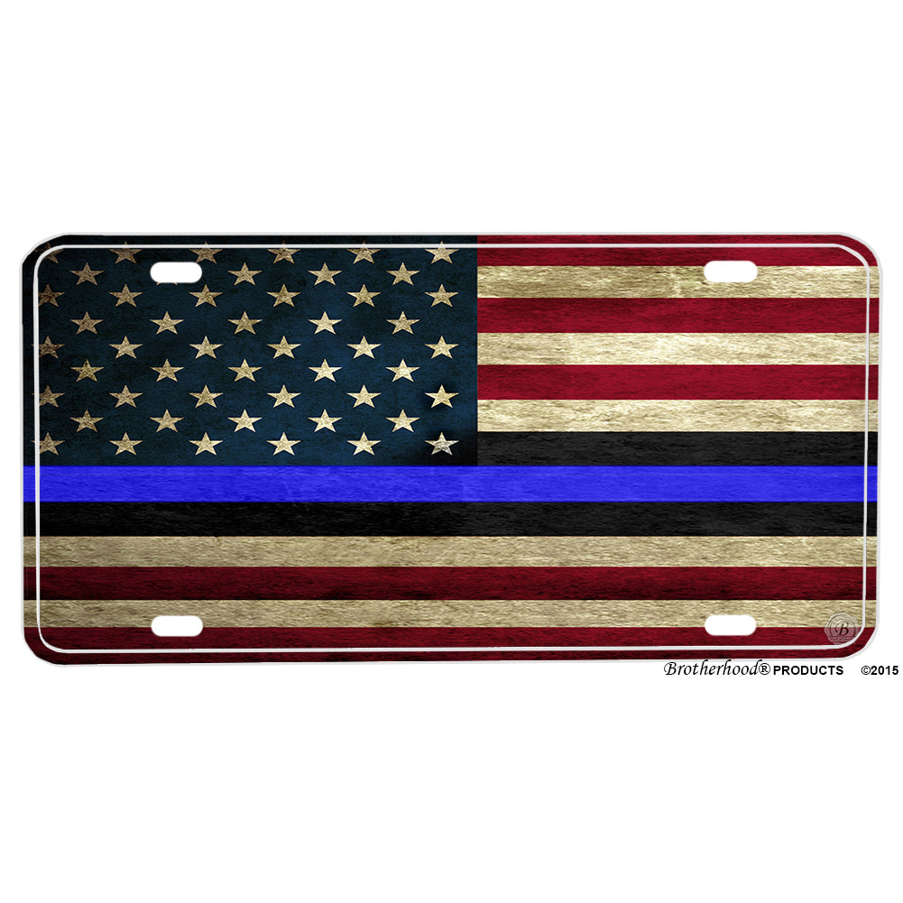 Red White and Blue Thin Blue Line Law Enforcement American Flag Design Aluminum License Plate