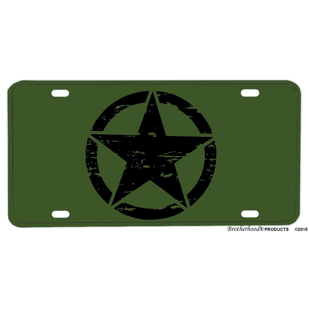 United States Army Jeep Black Star In A Circle Design Aluminum License Plate