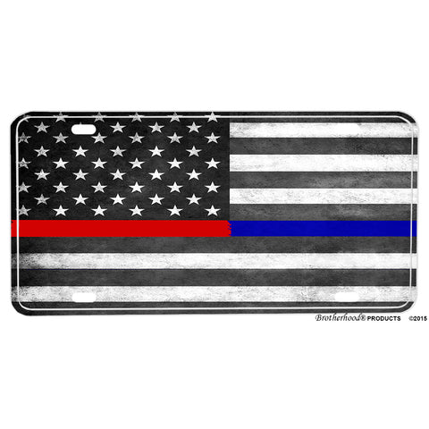 Police Thin Blue Line Firefighter Thin Red Line American Flag Aluminum License Plate