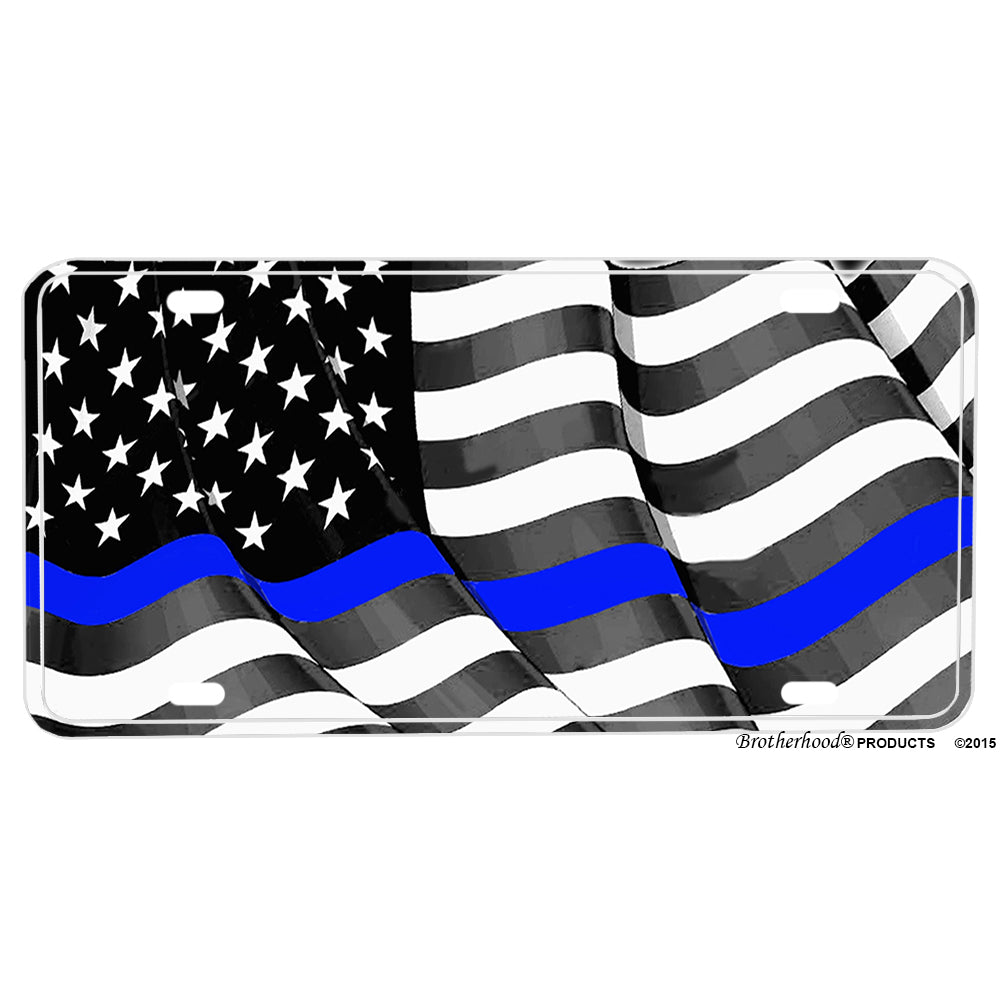 Thin Blue Line Flowing American Flag for law Enforcement  Aluminum License Plate