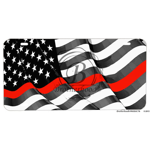 Firefighter Thin Red Line Flowing Flag Aluminum License Plate