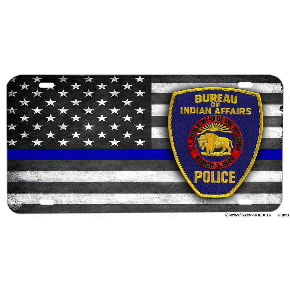 Dept of Interior Bureau of Indian Affairs Patch Thin Blue Line American Flag Aluminum License Plate