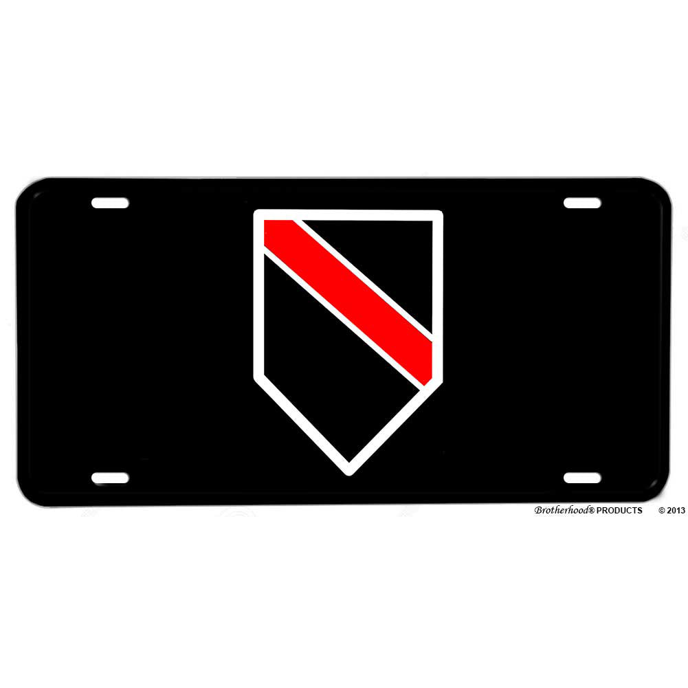 Firefighter Thin Red Line Shield Design Aluminum License Plate