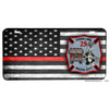 Firefighter Thin Red Line American Flag Baltimore City Three Line 29 Aluminum License Plate