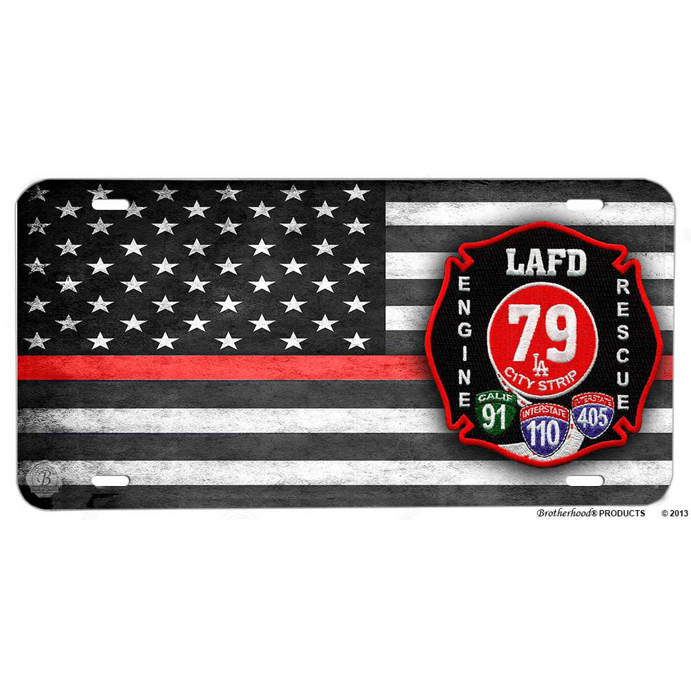 Los Angeles Fire Department Engine Rescue 79  Patch Design Aluminum License Plate