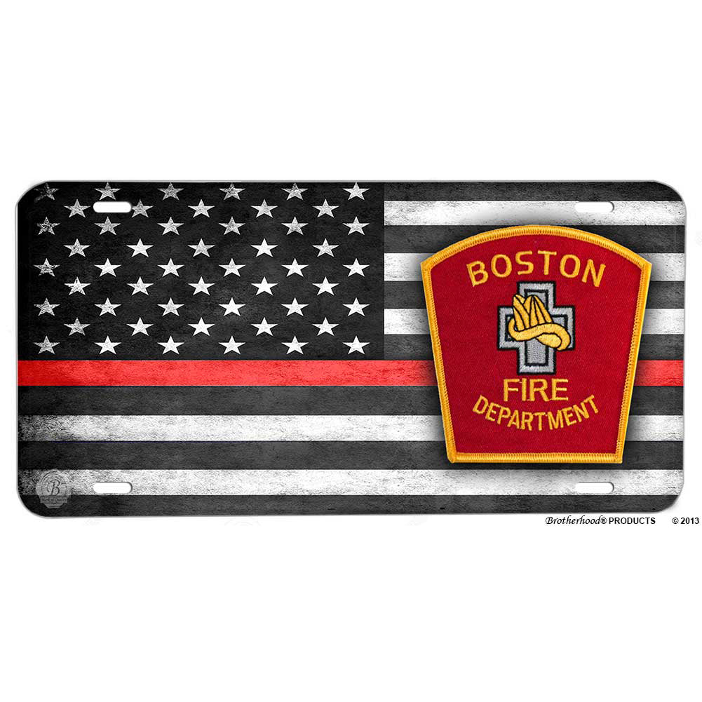 Firefighter Thin Red Line Boston Fire Department Aluminum License Plate