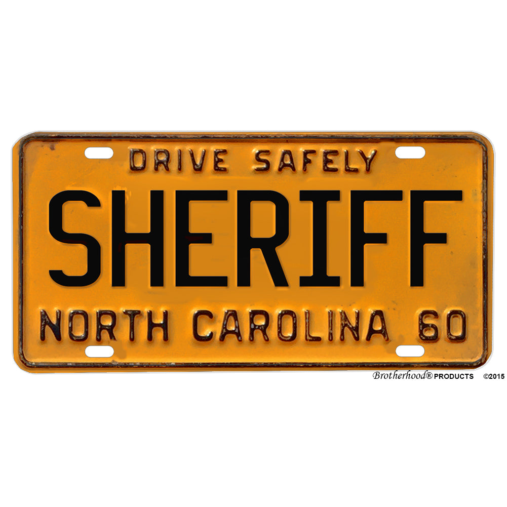 1960 North Carolina Sheriff Design Reproduction Aluminum License Plate
