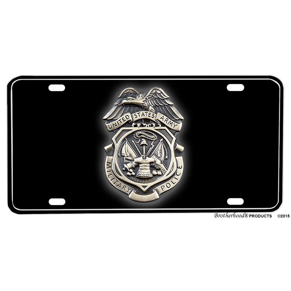 United States Army Military Police Assist Protect and Defend Aluminum License Plate