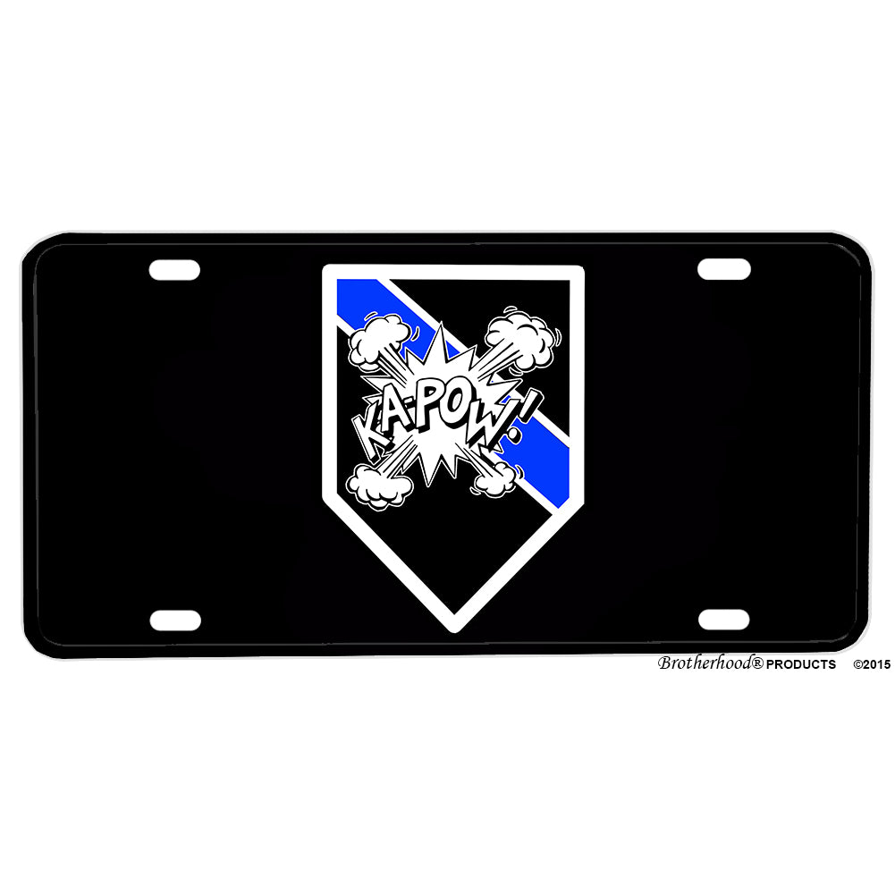 Law Enforcement Police Sheriff Thin Blue Line Bomb Squad Ka Pow Aluminum License Plate