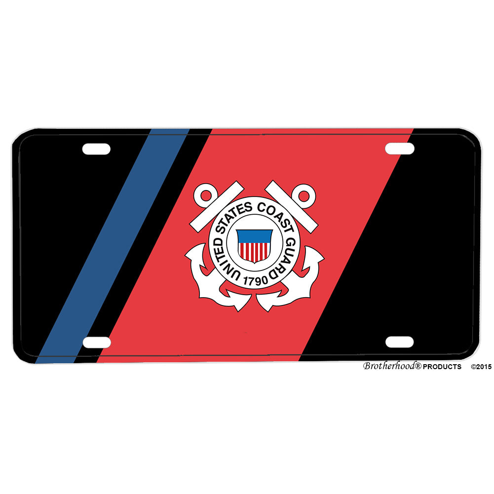 United States Coast Guard Twin Anchor Emblem Red Blue Design Aluminum License Plate