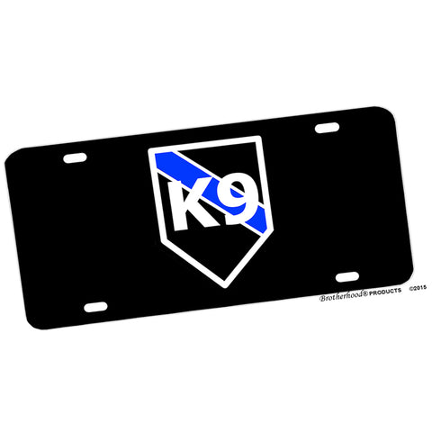 Police or Deputy Thin Blue Line K9 Emblem Design Aluminum License Plate