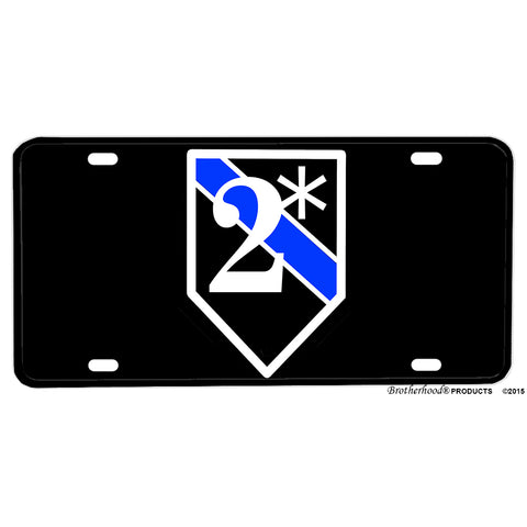Thin Blue Line K9 Two Ass To Risk 2* Emblem Design Aluminum License Plate