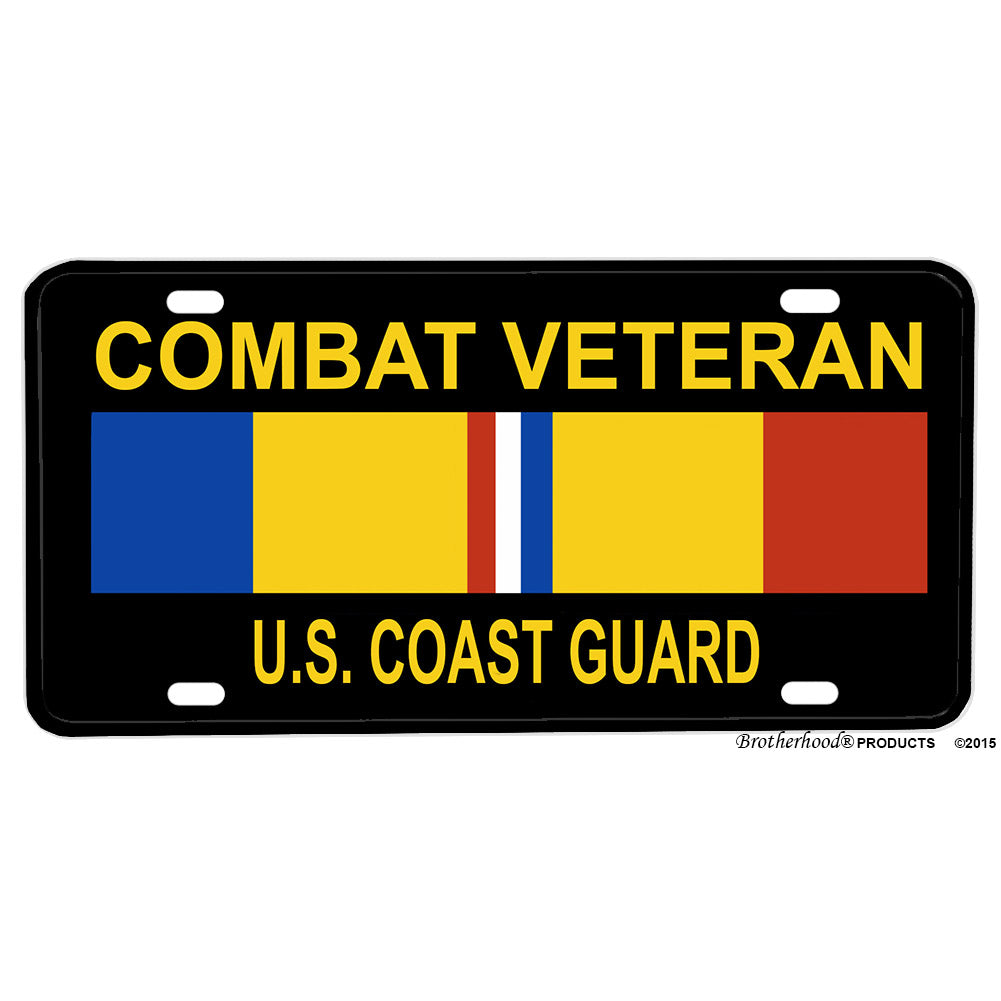 United States Coast Guard Combat Veteran Design Aluminum License Plate