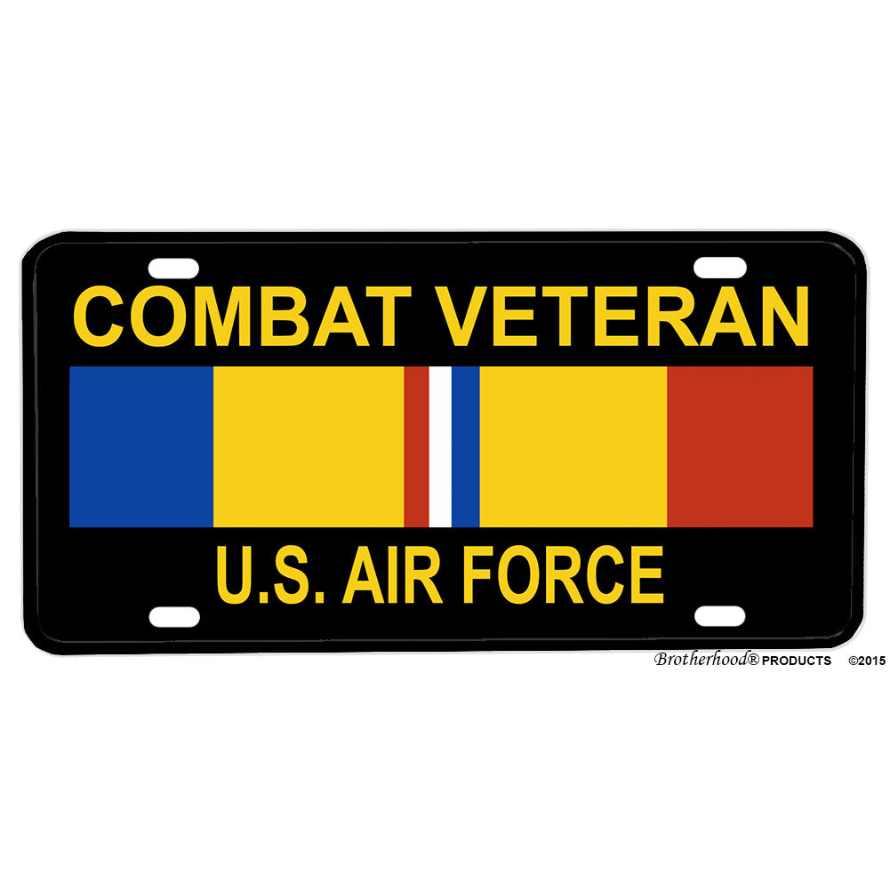 United States Air Force Combat Veteran Ribbon Design Aluminum License Plate