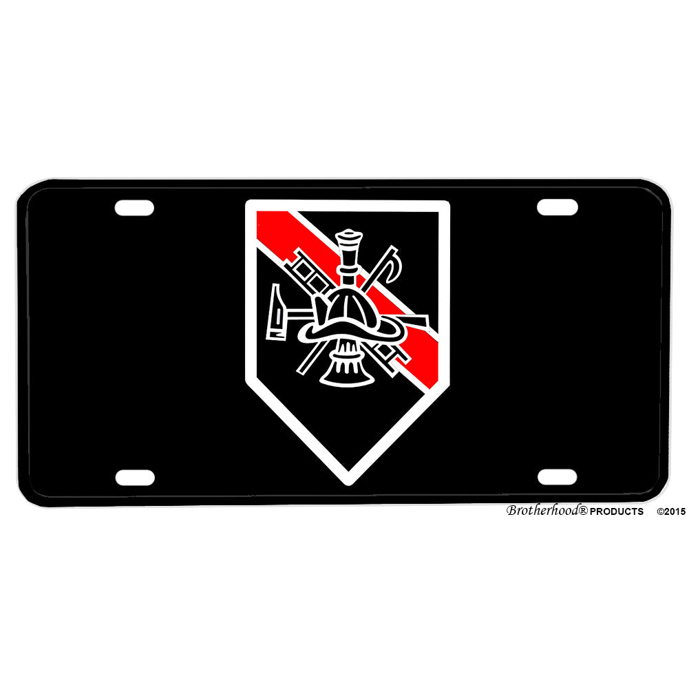 Firefighter Thin Red Line Horn Ladder Hook Ax Aluminum License Plate