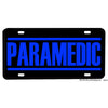 Paramedic Blue Letters Black Background Aluminum License Plate