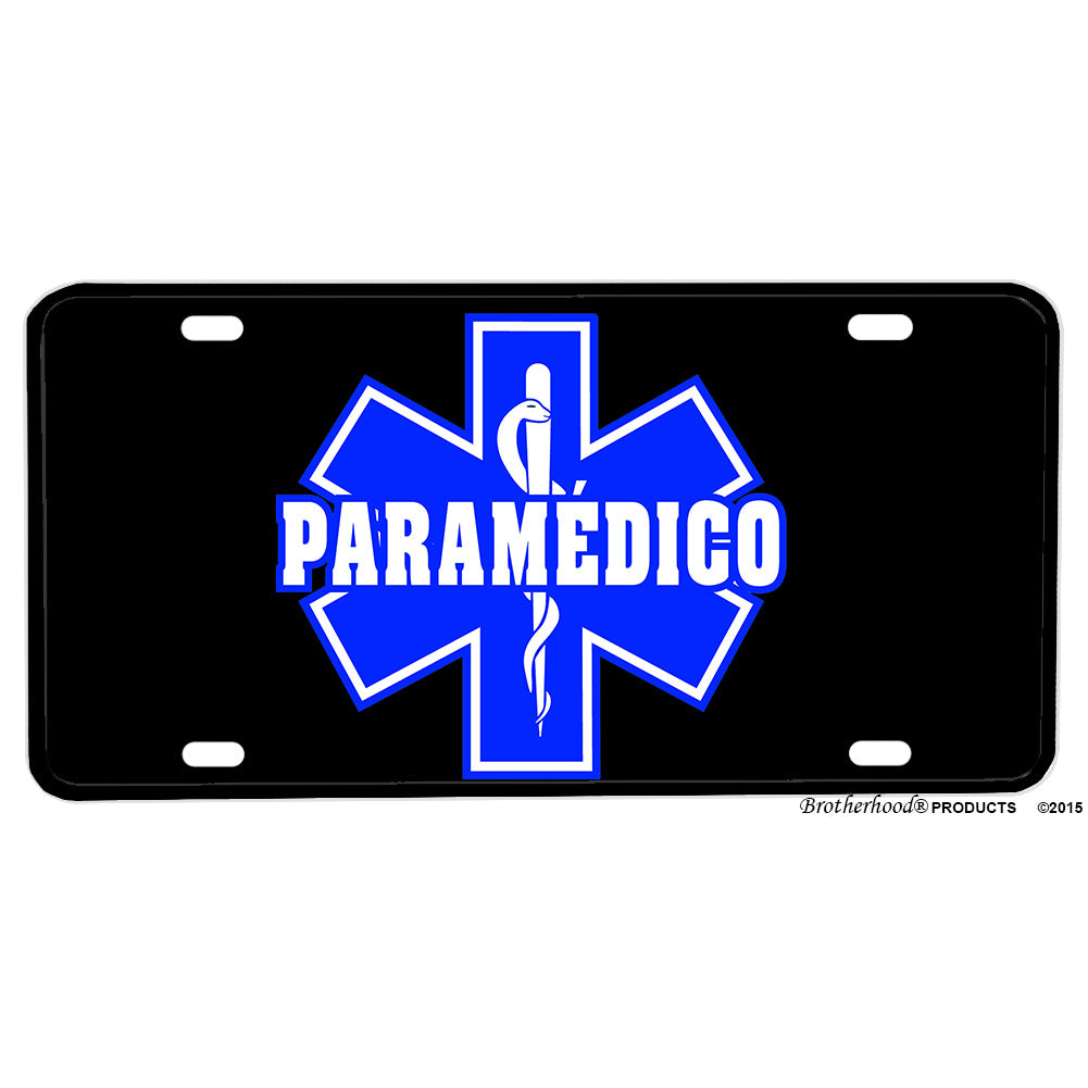 Spanish Paramedico Star of Life Distressed American Flag Aluminum License Plate