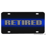 Thin Blue Line Retired Law Enforcement Aluminum License Plate