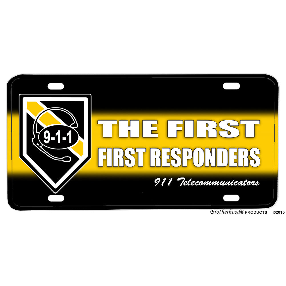 Thin Yellow Line The First First Responders Aluminum License Plate