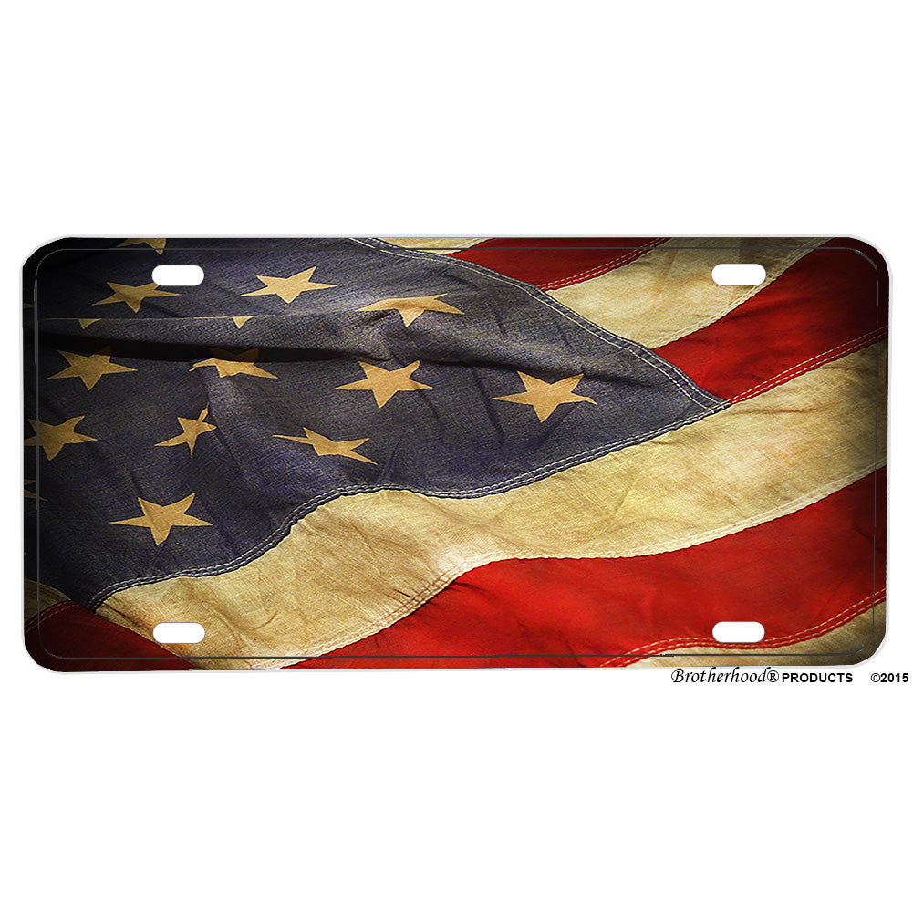 Flowing American Flag Design Aluminum License Plate