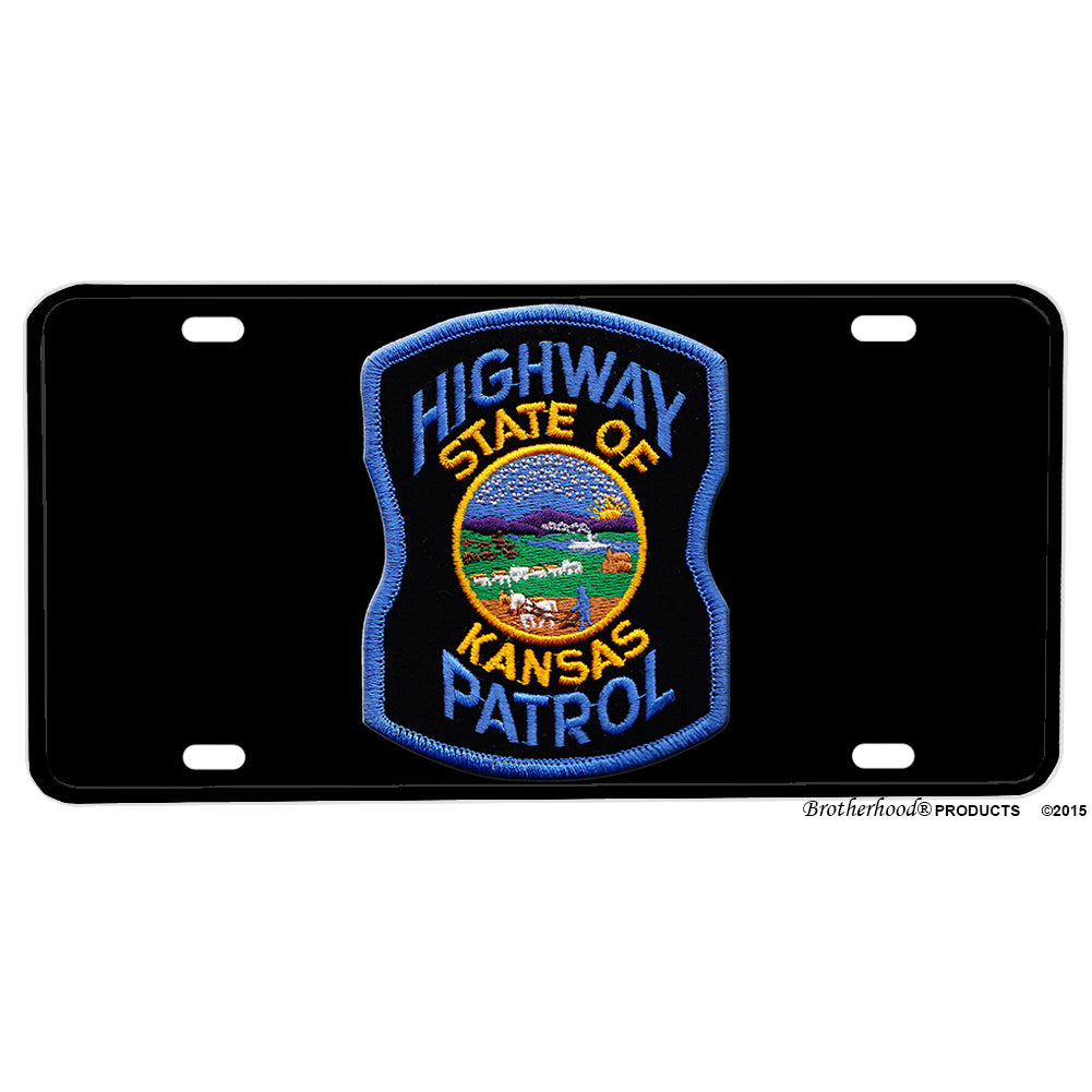 State of Kansas Highway Patrol Patch Design Aluminum License Plate