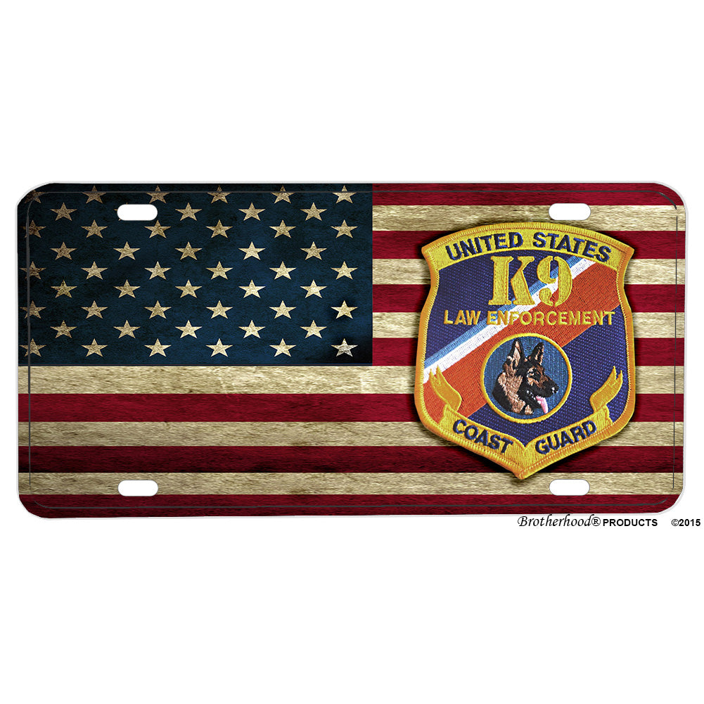 United States Coast Guard K9 Law Enforcement Design Aluminum License Plate