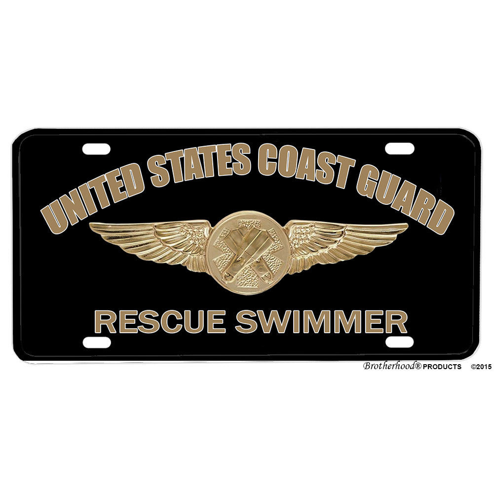 United States Coast Guard Rescue Swimmer Emblem Design Aluminum License Plate