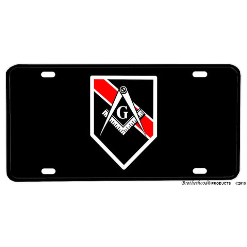 Thin Red Line Mason Square and Compass Firefighter Fireman Aluminum License Plate