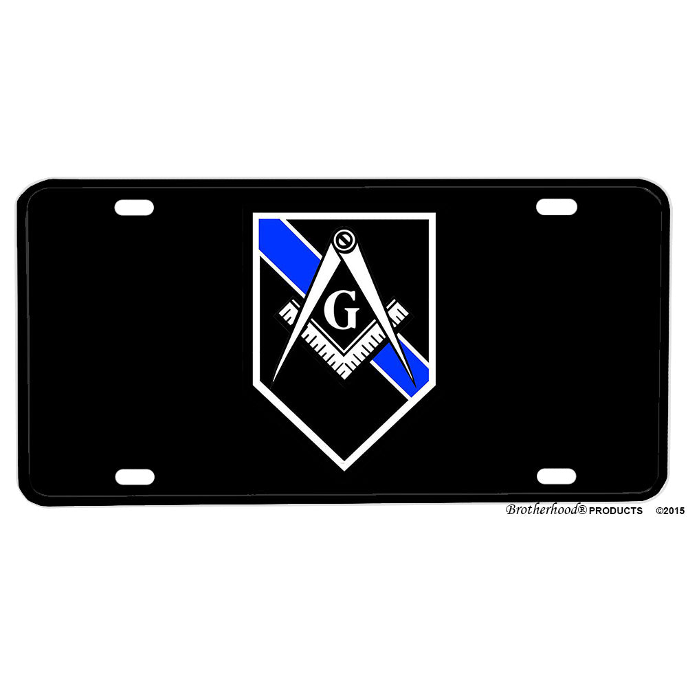 Thin Blue Line Mason Square and Compass Law Enforcement Aluminum License Plate