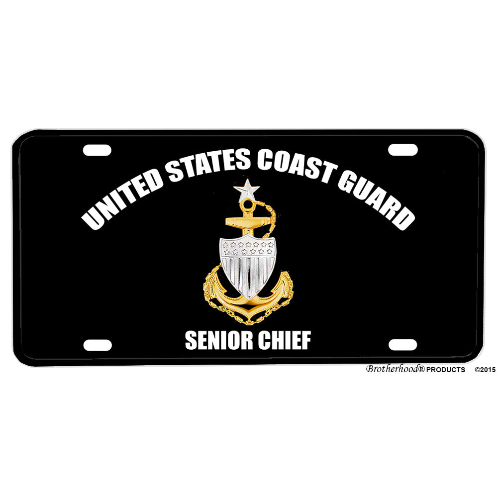 United States Coast Guard Senior Chief Petty Officer Emblem Design Aluminum License Plate