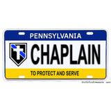 Thin Blue Line Police Sheriff Chaplain Pennsylvania Design Aluminum License Plate