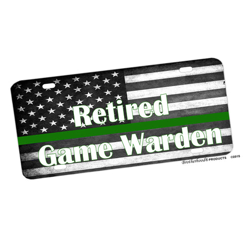 Subdued Thin Thin Green Line Game Warden Flag Aluminum License Plate