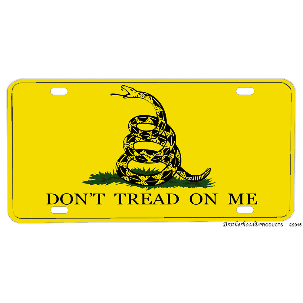 Don't Tread On Me Gadsden Rattlesnake Flag Yellow Aluminum License Plate