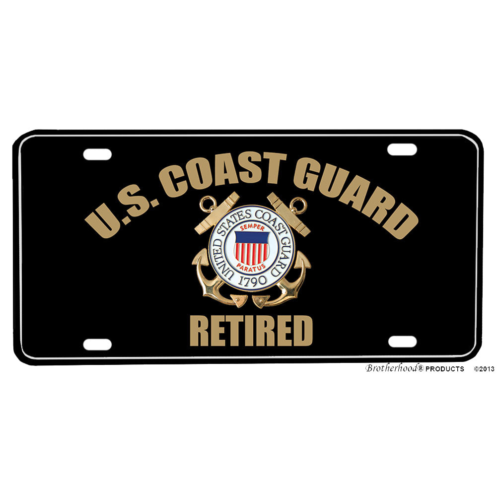 United States Coast Guard Emblem Retired Design Aluminum License Plate
