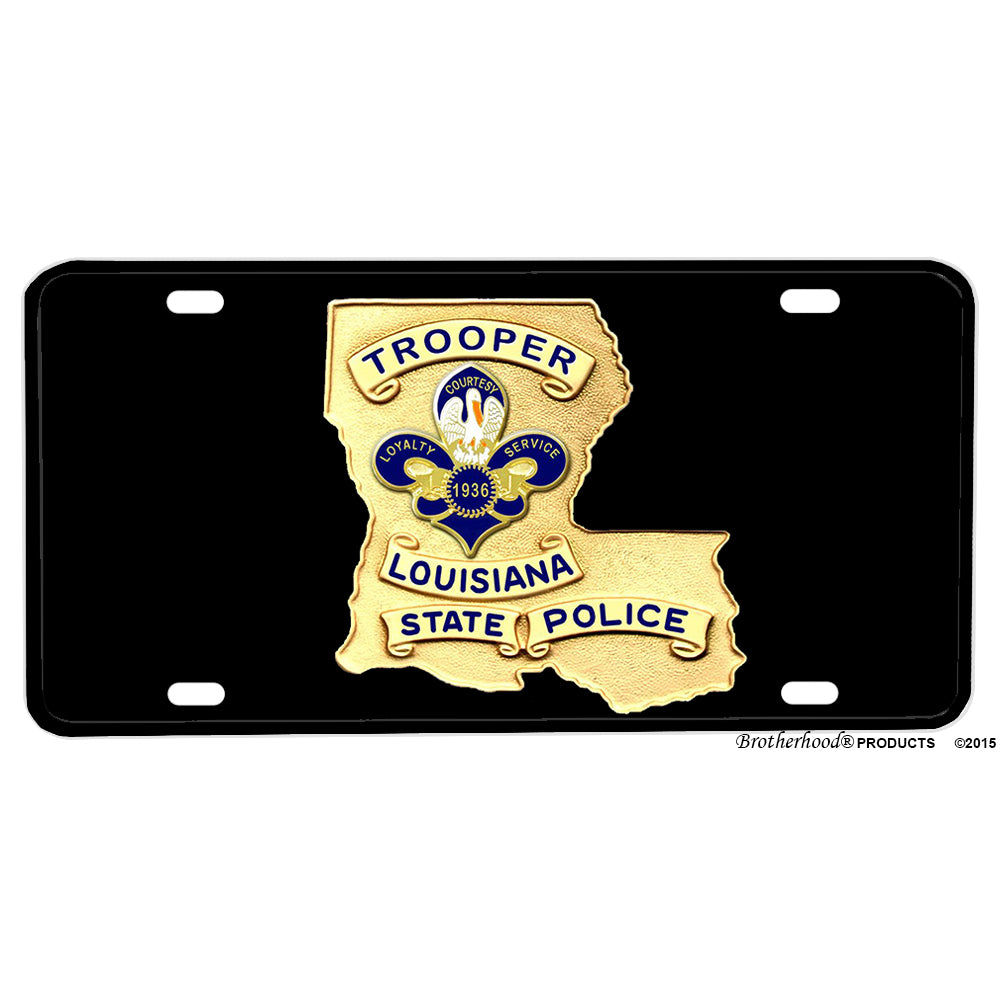 Trooper Louisiana State Police Badge Design Aluminum License Plate