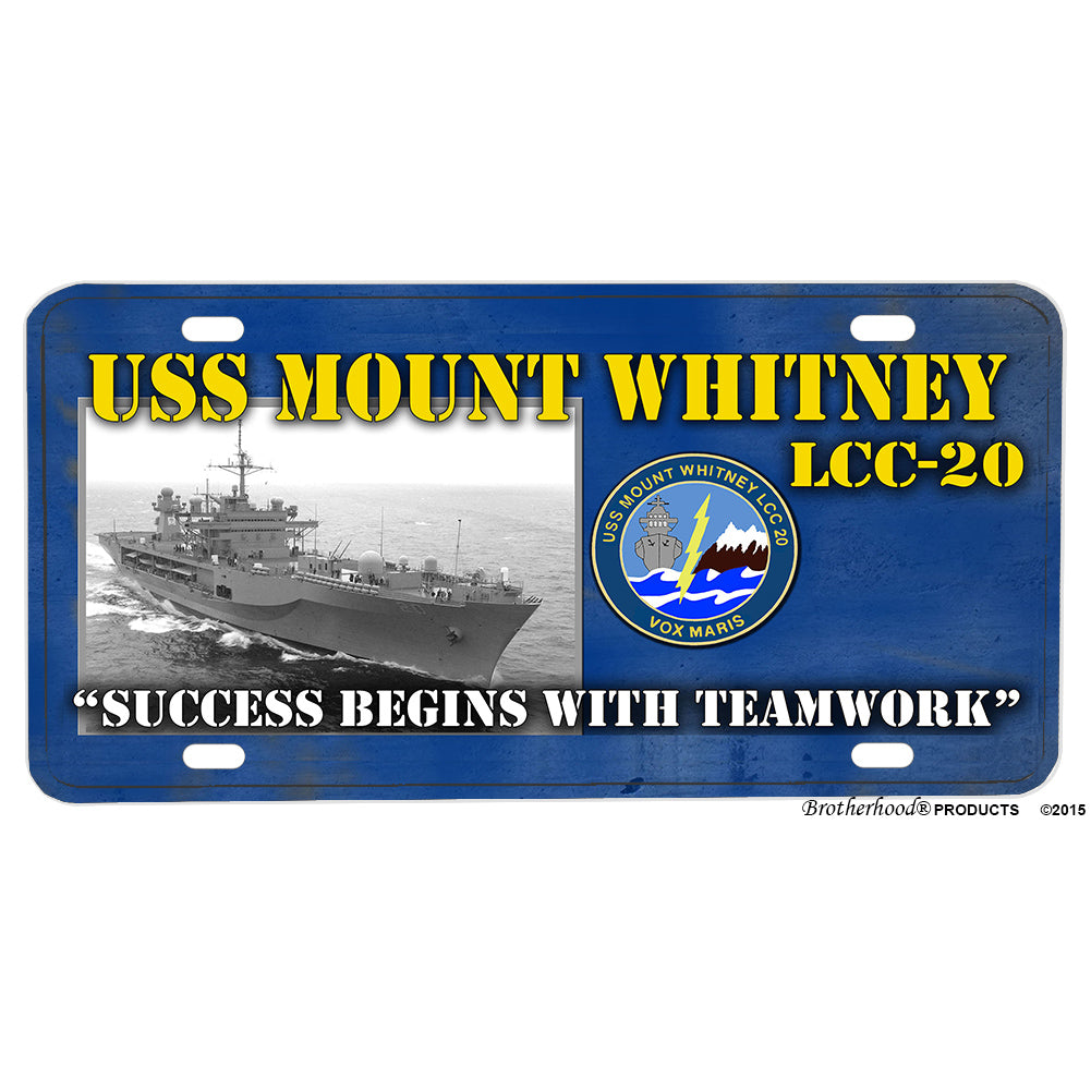 United States Navy USS Mount Whitney Navy Ship LCC-20 Aluminum License Plate