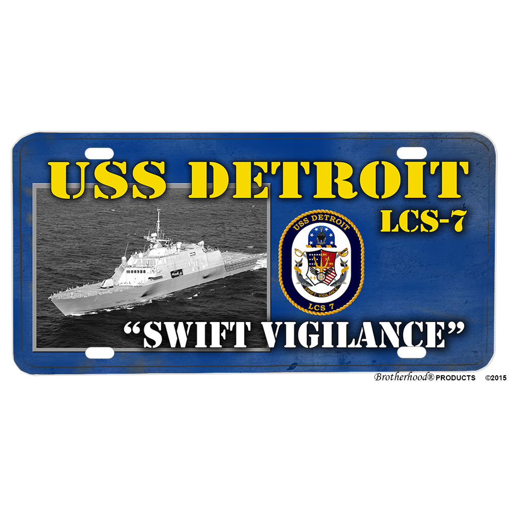 United States Navy USS Detroit LCS-7 Aluminum License Plate
