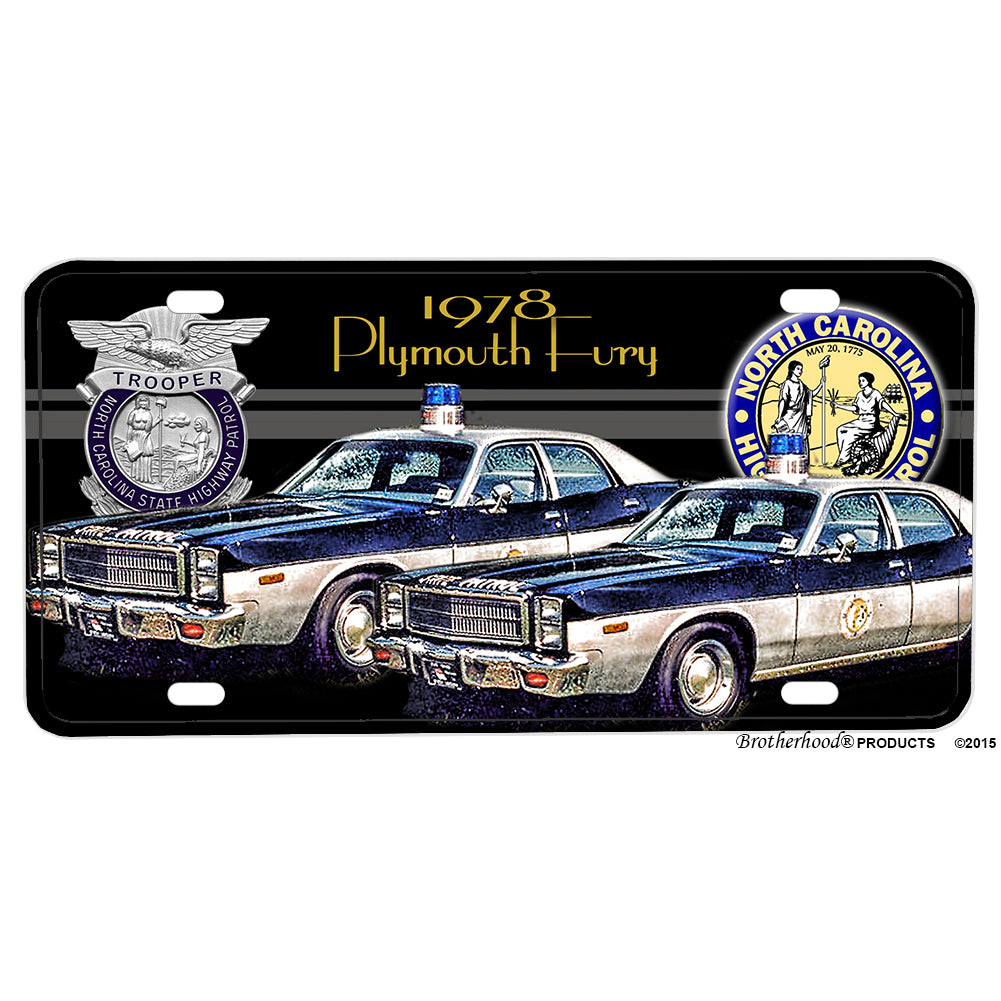 1978 North Carolina Highway Patrol Crown Victoria Patrol Car Aluminum License Plate