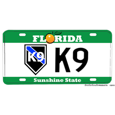 Florida Thin Blue Line K9 Sunshine State Design Aluminum License Plate