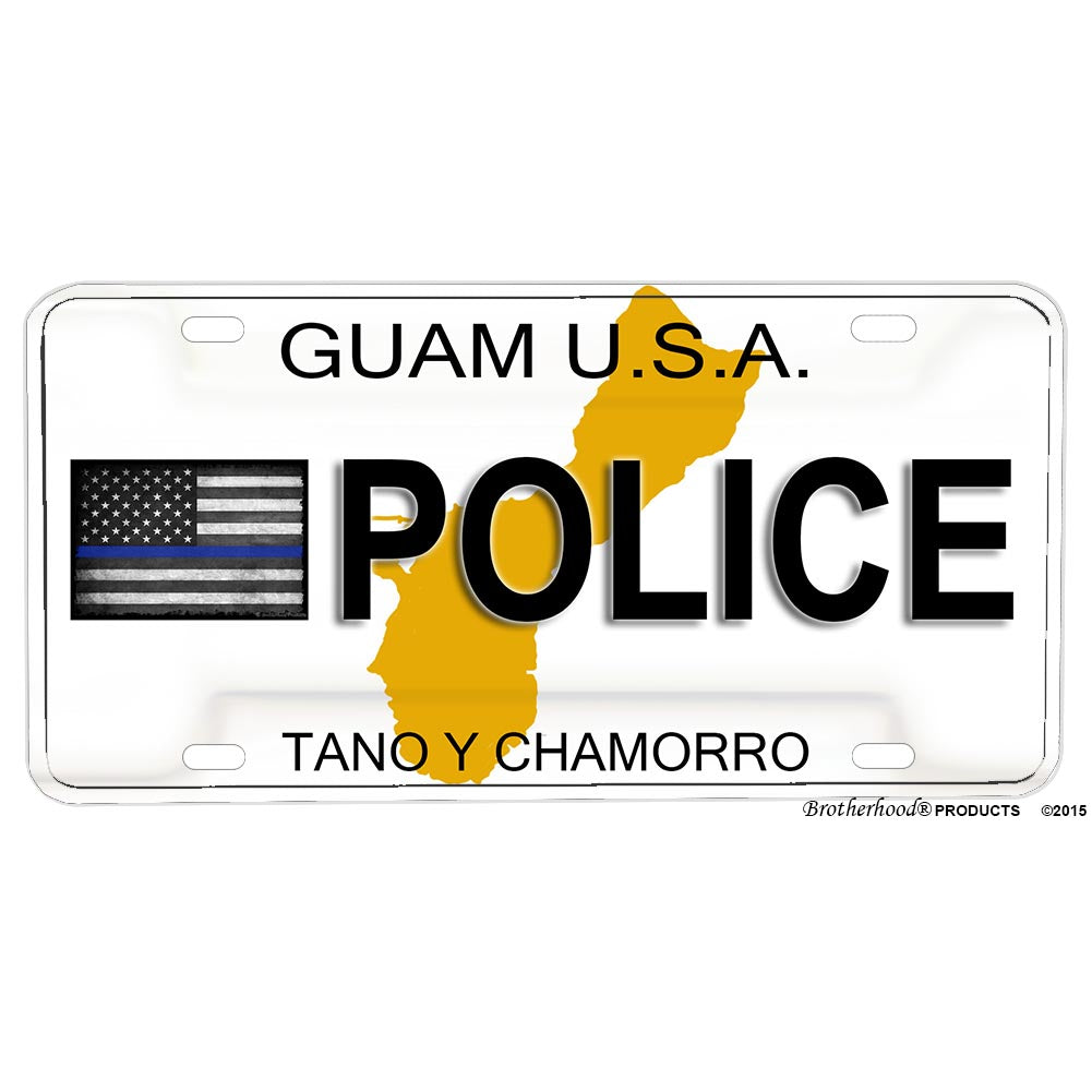 Thin Blue Line Guam USA Tano Y Chamorro POLICE Novelty Aluminum License Plate