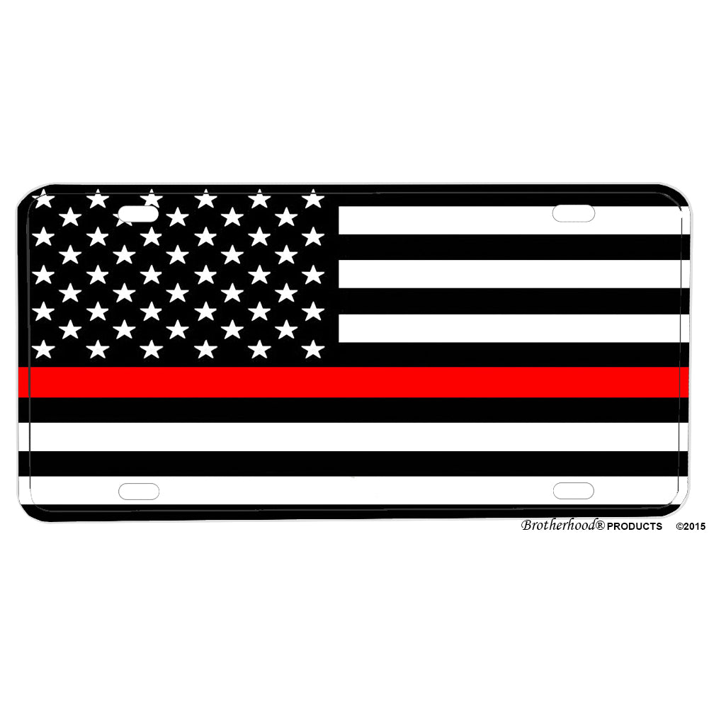 Firefighter Solid Thin Red Line American Flag Fireman Design Aluminum License Plate