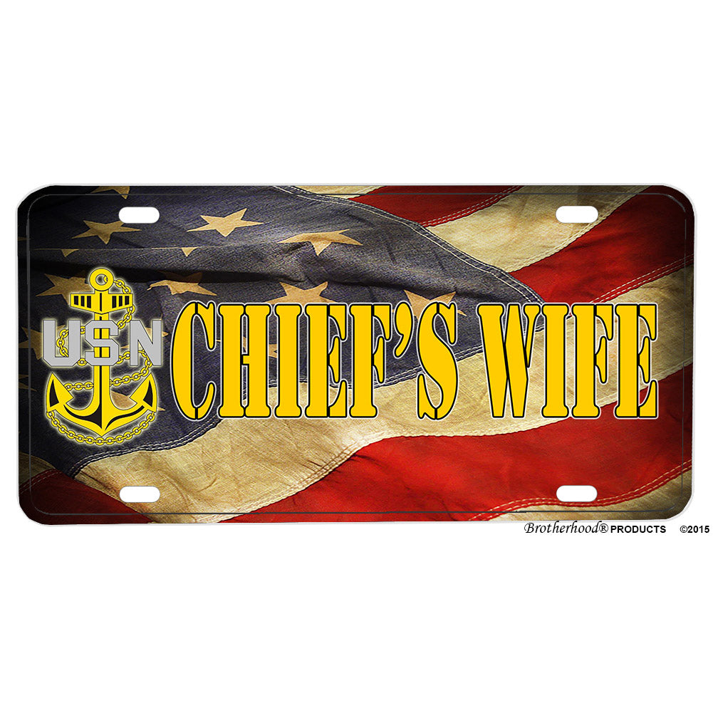 United States Navy Chief's Wife Flowing Flag Aluminum License Plate